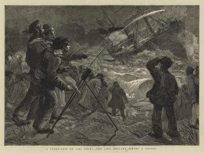 A Steam-Ship on the Rocks, the Life Brigade Firing a Rocket-Charles Joseph Staniland-Giclee Print