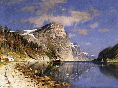 A Steamer in the Sognefjord-Adelsteen Normann-Giclee Print