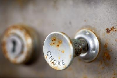 A Steampunk Style Retro Choke Knob - Shallow Depth Of Field-leaf-Photographic Print