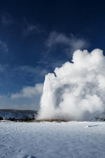 A Steamy Old Faithful In Winter In Yellowstone National Park-Ben Herndon-Photographic Print