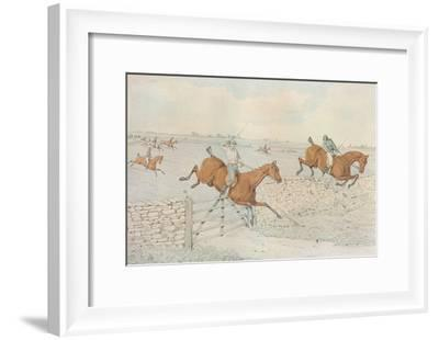 A Steeplechase: A slap at a stone enclosure. 5 to 4 on white, 1827-Henry Thomas Alken-Framed Giclee Print