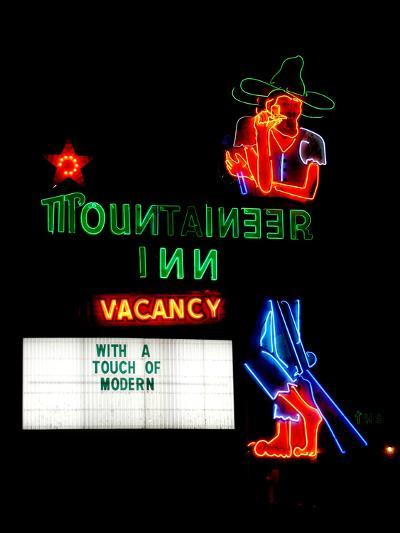 A Stereotypical Mountain Man Graces the Neon Sign of a Local Landmark-Amy and Al White and Petteway-Photographic Print
