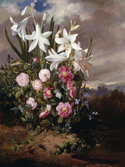 A Still Life of Flowers and Butterflies-Joseph Schuster-Giclee Print