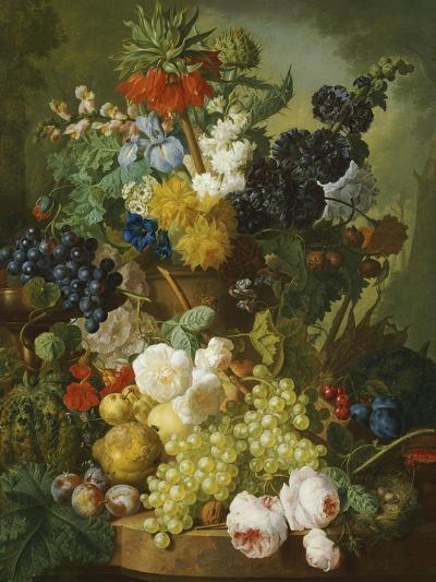A Still Life of Flowers and Fruit-Jan van Os-Premium Giclee Print