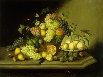 A Still Life with a Basket of Grapes and Mixed Fruit on a Stone Ledge-Johann Georg Seitz-Giclee Print