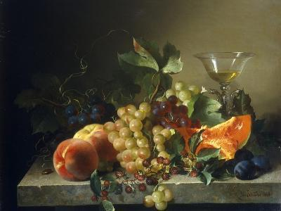 A Still Life with Fruit on a Stone Ledge, 1858-Bela Schaffer-Giclee Print