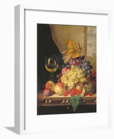 A Still Life with Grapes, Raspberries and a Glass of Wine-Edward Ladell-Framed Giclee Print