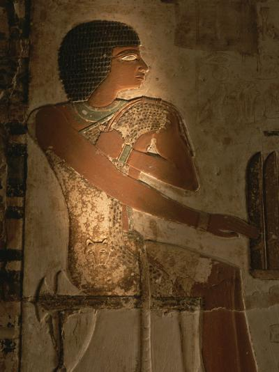 A Stone Relief Depicts a Member of Ancient Egyptian Royalty-Kenneth Garrett-Photographic Print
