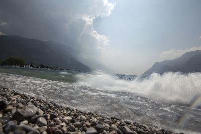 A Storm Approaches the Beach in Riva Del Garda, Lago Di Garda, Trentino, Italy-Ulla Lohmann-Photographic Print