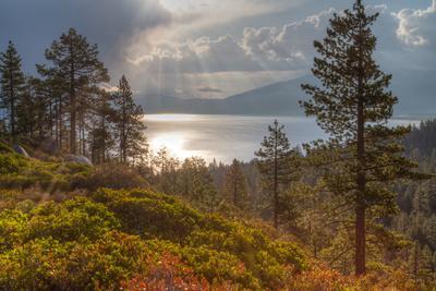 A Storm at Sunrise over Lake Tahoe, California-Greg Winston-Photographic Print