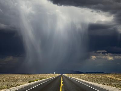 A Storm Crosses Highway 50, 'America's Loneliest Road'.-Jon Hicks-Photographic Print
