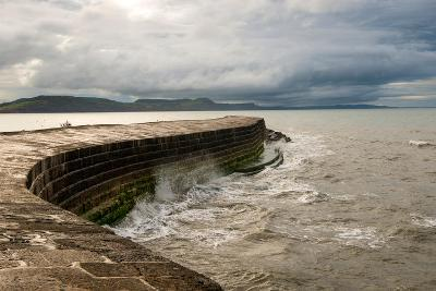 A Stormy Day at the Cobb in Lyme Regis in Dorset, England UK-Tracey Whitefoot-Photographic Print