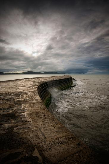 A Stormy Day on the Cobb at Lyme Regis in Dorset, England UK-Tracey Whitefoot-Photographic Print