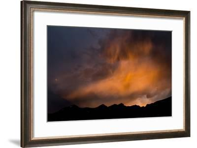 A Stormy Sunset Glowing Over The Teton Mountains, Teton Village, Wyoming-Mike Cavaroc-Framed Photographic Print