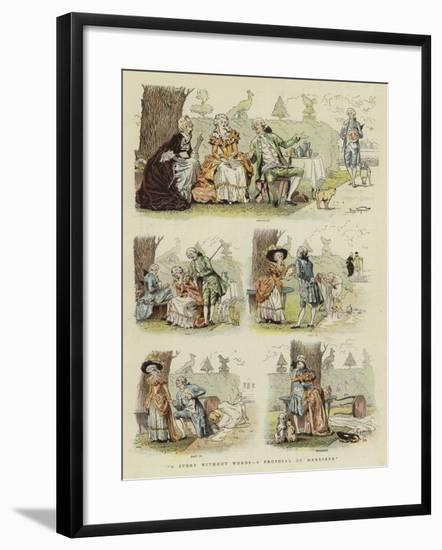 A Story Without Words, a Proposal of Marriage--Framed Giclee Print