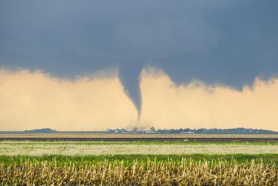 A Stove Pipe Tornado Touches Down over a Farmstead and Causes Lots of Damage and Destruction-Mike Theiss-Photographic Print