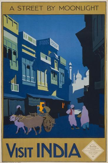 A Street by Moonlight - Visit India--Giclee Print