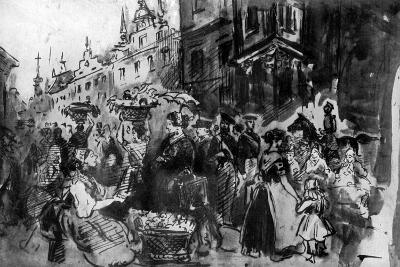 A Street in Alsace, 19th Century-Constantin Guys-Giclee Print