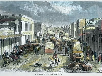 A Street in Denver, Colorado, USA, C1880--Giclee Print