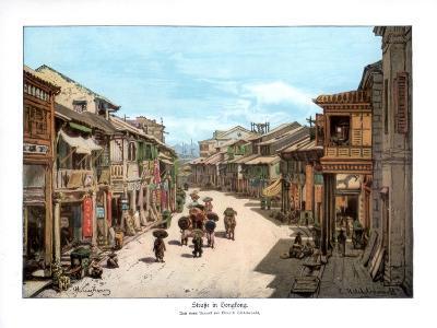 A Street in Hong Kong, 1900--Giclee Print