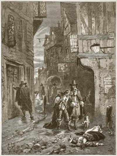A Street in London During the Great Plague-English School-Giclee Print