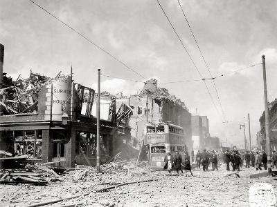 A Street in Ruins after German Bombing, London, United Kingdom, 1944--Photographic Print