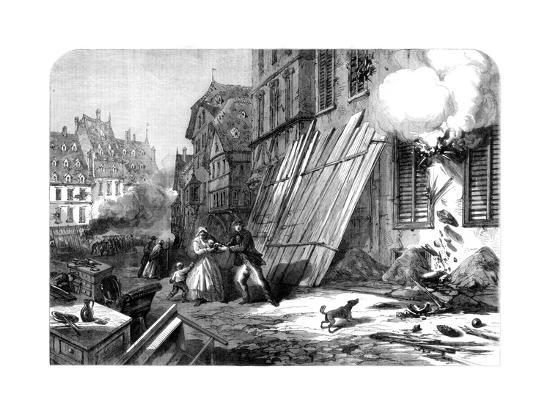A Street in Strasbourg During the Siege and Bombardment, Franco-Prussian War, 1870--Giclee Print
