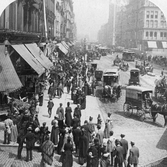A Street Scene in Chicago, Illinois, USA, 1896-Underwood & Underwood-Photographic Print