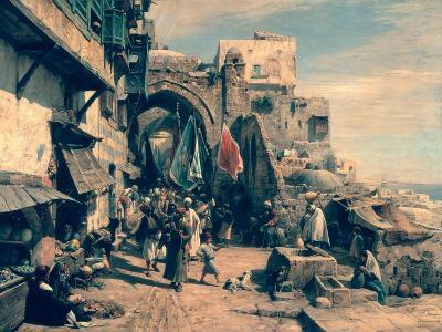 A Street Scene in Jaffa, 1890-Gustav Bauernfeind-Giclee Print