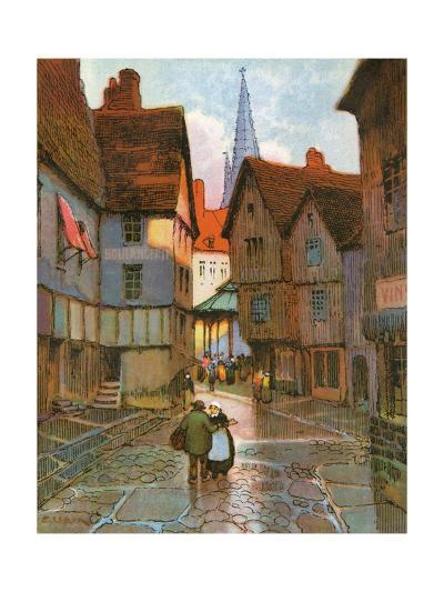 A Street Scene of a French Medieval Town--Giclee Print
