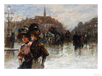 A Street Scene with Elegant Ladies, Paris-Max Lugi-Giclee Print
