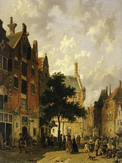 A Street Scene with Numerous Figures-Adrianus Eversen-Giclee Print
