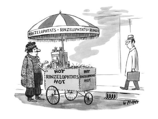 A street vendor is selling 'Hot Rinzelophtats'; he's wearing exotic foreig? - New Yorker Cartoon-Warren Miller-Premium Giclee Print