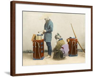 A Street Vendor of Rice Wine - Japan--Framed Photographic Print
