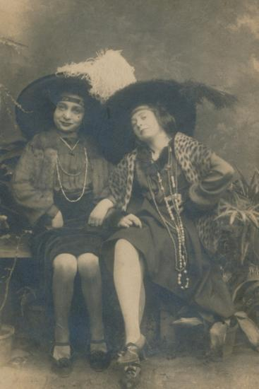 A studio photograph of two ladies, c1910-Unknown-Photographic Print