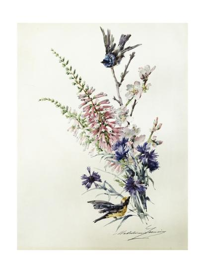 A Study of Heather, Cornflower, and Blossom-Madeleine Lemaire-Giclee Print