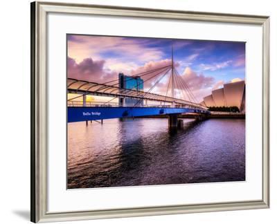 A Stunning Sunset over Bells Bridge, Glasgow, Scotland, United Kingdom, Europe-Jim Nix-Framed Photographic Print