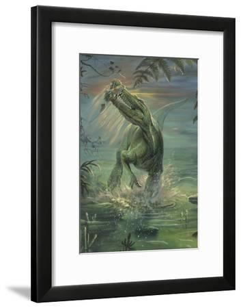 A Suchomimus Catches a Fish Out of Water-Stocktrek Images-Framed Art Print
