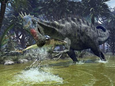 A Suchomimus Snags a Shark from a Lush Estuary-Stocktrek Images-Photographic Print