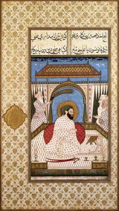 A Sufi Ruler Nimbate Reading a Qur'An on a Terrace, C. 1700 (Watercolor, Gold, and Ink on Paper)