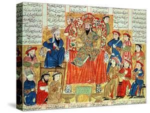 "A Sultan and His Court, Illustration from the ""Shahnama"", by Abu""L-Qasim Manur Firdawsi circa 1330"