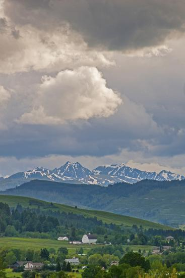 A Summer Thunderstorm Builds over the Spanish Peaks in the Southern Gallatin Valley, Montana-Gordon Wiltsie-Photographic Print