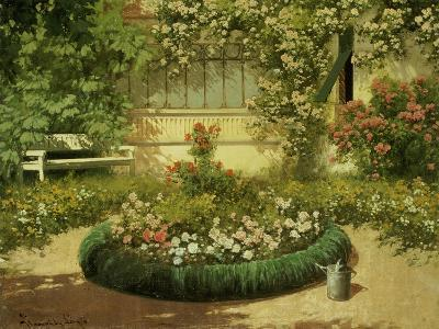 A Sunlit Flower Garden-Laszlo Neogrady-Giclee Print