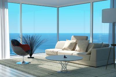 A Sunny Living Room Interior-PlusONE-Photographic Print