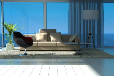 A Sunny Living Room with Large Windows-PlusONE-Photographic Print