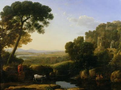 A Sunset or Landscape with Argus Guarding Io-Claude Lorraine-Giclee Print