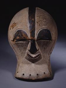 A Superb Songye Mask, Kifwebe,Whitened with Kaolin, Belgian Congo
