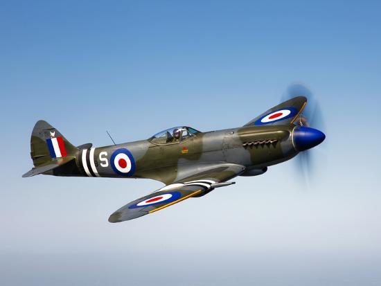 A Supermarine Spitfire MK-18 in Flight-Stocktrek Images-Photographic Print