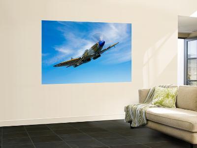 A Supermarine Spitfire MK-18 in Flight-Stocktrek Images-Wall Mural