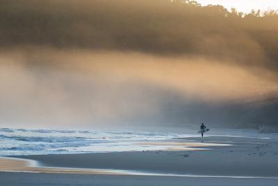 A Surfer on Juquehy Beach at Sunrise-Alex Saberi-Photographic Print